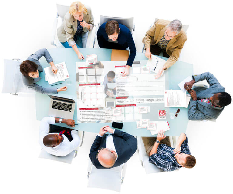 Overhead View of a Group of Business People at Meeting